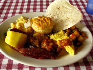 Another kind of wow: the Texas-sized breakfast plate.